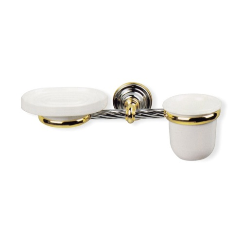 Wall Mounted Classic Ceramic Soap Dish and Toothbrush Holder