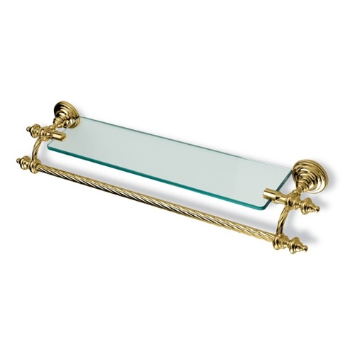 Gold Classic-Style Clear Glass Bathroom Shelf with Towel Bar