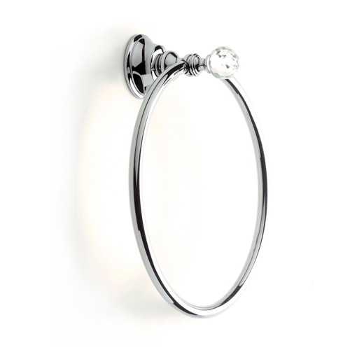 Chrome or Gold Towel Ring with Crystal