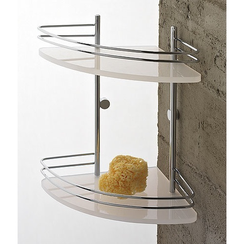 Plexiglass Double Tier Corner Shower Shelf With Chromed Brass Railing