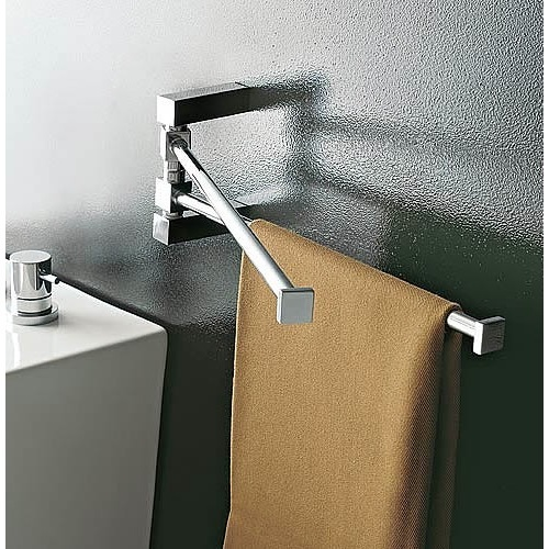 14 Inch Polished Chrome Swivel Towel Bar