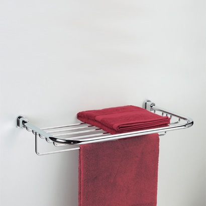 Chrome or Chrome and Gold Towel Rack or Towel shelf with Towel Bar