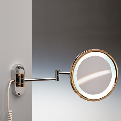 Makeup Mirror, Windisch 99180D, Round Wall Mounted Hardwired Lighted 3x or 5x Brass Magnifying Mirror 99180D