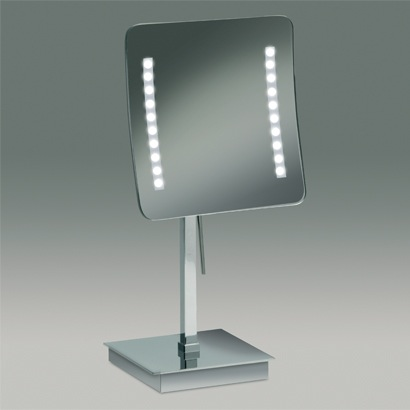 Chrome or Gold Square Pedestal Lighted 3x or 5x Magnifying Mirror