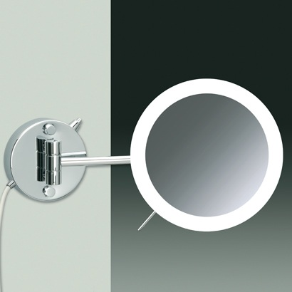Wall Mounted One Face Chrome or Gold Lighted 3x or 5x Magnifying Mirror