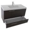 39 Inch Wenge Bathroom Vanity with Fitted Ceramic Sink, Wall Mounted, Mirror Included