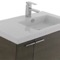 31 Inch Grey Oak Bathroom Vanity with Fitted Ceramic Sink, Wall Mounted