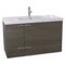39 Inch Grey Oak Bathroom Vanity with Fitted Ceramic Sink, Wall Mounted