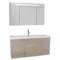 47 Inch Larch Canapa Bathroom Vanity with Fitted Ceramic Sink, Wall Mounted, Lighted Medicine Cabinet Included