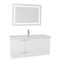 47 Inch Glossy White Bathroom Vanity Set, Large Basin Sink, Lighted Mirror Included