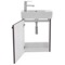 19 Inch Space-Saving Grey Oak Bathroom Vanity with Ceramic Sink, Wall Mounted