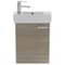 19 Inch Space Saving Larch Canapa Bathroom Vanity with Ceramic Sink, Wall Mounted
