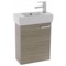 19 Inch Larch Canapa Wall Mount Bathroom Vanity with Fitted Ceramic Sink