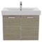 32 Inch Larch Canapa Wall Mount Bathroom Vanity with Fitted Ceramic Sink, Medicine Cabinet Included