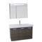 39 Inch Grey Oak Wall Mount Bathroom Vanity with Fitted Ceramic Sink, Lighted Medicine Cabinet Included