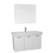 39 Inch Glossy White Wall Mount Bathroom Vanity with Fitted Ceramic Sink, Mirror Included