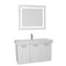 39 Inch Glossy White Wall Mount Bathroom Vanity with Fitted Ceramic Sink, Lighted Mirror Included