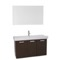 39 Inch Wenge Wall Mount Bathroom Vanity with Fitted Ceramic Sink, Mirror Included