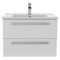 25 Inch Glossy White Wall Mount Bathroom Vanity Set, 2 Drawers, Medicine Cabinet Included