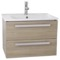 25 Inch Style Oak Wall Mount Bathroom Vanity Set, 2 Drawers
