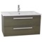 33 Inch Grey Oak Wall Mount Bathroom Vanity Set, 2 Drawers