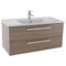 38 Inch Style Oak Wall Mount Bathroom Vanity Set, 2 Drawers