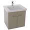 21 Inch PVC Matt Canapa Bathroom Vanity Set with Inset Handles, Mirror Included