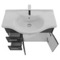 32 Inch Wall Mount Glossy Anthracite Bathroom Vanity Set