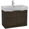 28 Inch Wall Mount Sherwood Burn Vanity Cabinet With Fitted Curved Sink