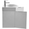 28 Inch Wall Mount Glossy White Vanity Cabinet With Fitted Curved Sink