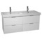 47 Inch Wall Mount Ash White Double Vanity Cabinet With Fitted Sink