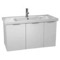 39 Inch Wall Mount Larch White Vanity Cabinet With Fitted Sink