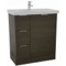 31 Inch Floor Standing Grey Oak Vanity Cabinet With Fitted Sink