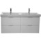 47 Inch Ash White Wall Mounted Bathroom Vanity Set, Lighted Vanity Mirror Included