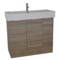 40 Inch Floor Standing Larch Canapa Vanity Cabinet With Fitted Sink