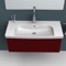 Rectangle White Ceramic Wall Mounted or Self Rimming Sink