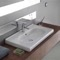 Rectangle White Ceramic Wall Mounted Sink or Self Rimming Sink