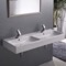 Double Rectangular Ceramic Wall Mounted or Vessel Sink
