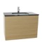 32 Inch Natural Oak Bathroom Vanity with Black Glass Top, Wall Mounted