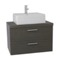 30 Inch Grey Oak Vessel Sink Bathroom Vanity, Wall Mounted
