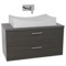 38 Inch Grey Oak Bathroom Vanity, Wall Mounted, Lighted Mirror Included