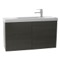 39 Inch Grey Oak Bathroom Vanity, Wall Mounted, Lighted Mirror Included