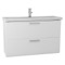 38 Inch Glossy White Wall Mounted Vanity with Fitted Sink