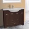 39 Inch Floor Standing Walnut Vanity Cabinet With Fitted Sink