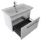 32 Inch Wall Mounted White Vanity Cabinet With Fitted Sink