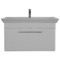 38 Inch Wall Mounted White Vanity Cabinet With Fitted Sink