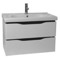 31 Inch Wall Mounted White Vanity Cabinet With Fitted Sink