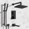 Matte Black Thermostatic Tub and Shower System with 8