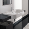 Rectangular White Ceramic Semi-Recessed Sink