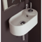 Oval-Shaped White Ceramic Wall Mounted Sink